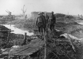 NZ troops on duckboards. Ypres area 1917. National Army Museum Waiouru. NAM 1994 4